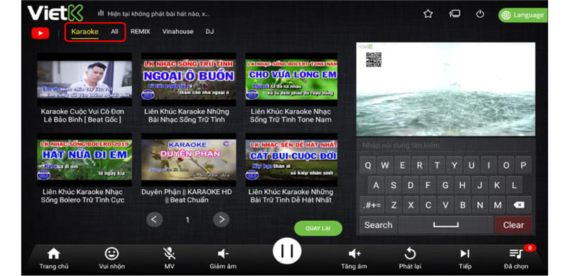 hát nhạc Online trên đầu VietK 4K Plus
