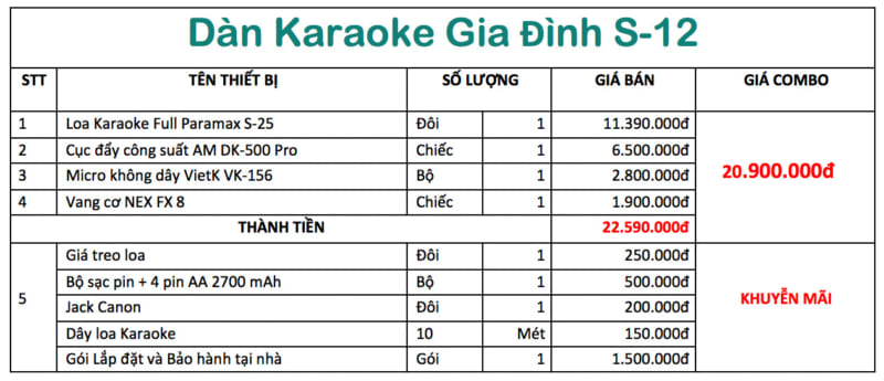 dàn karaoke gia đình giá rẻ s12